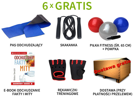 Pas neoprenowy, piłka fitness, rękawiczki treningowe, skakanka, e-book i dostawa gratis!