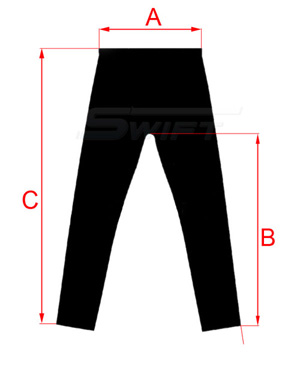Szkic spodni bielizny termoaktywnej - wymiary