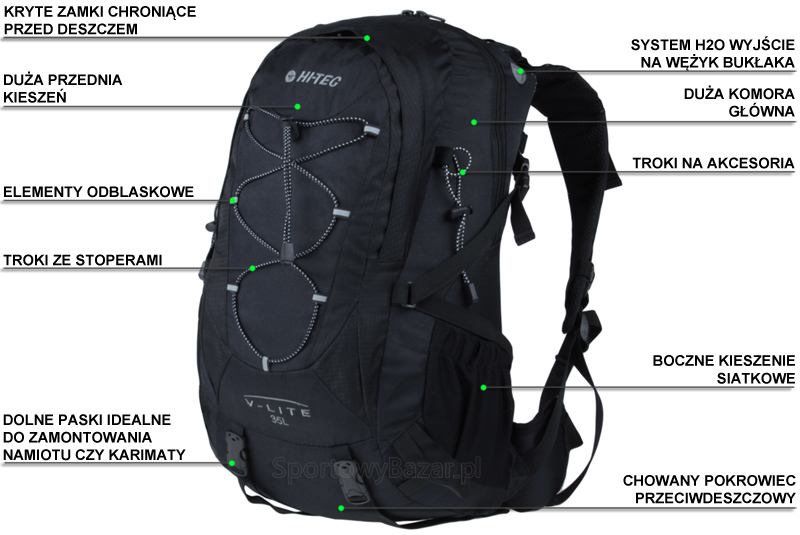 Plecak trekkingowy Aruba marki Hi-Tec - infografika dotycząca przedmiotu