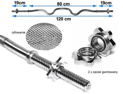 Gryf mocno łamany 120 cm/25 mm z zaciskami śrubowymi marki Hop-Sport - infografika