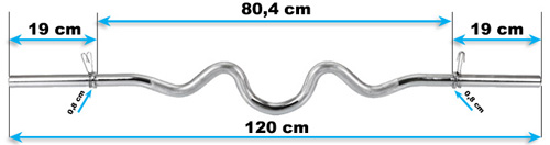 Gryf mocno łamany 120 cm/30 mm z zaciskami sprężynowymi marki Hop-Sport - wymiary