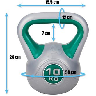 Hantle winylowe do ćwiczeń Kettlebell 10 kg marki Hop Sport - wymiary