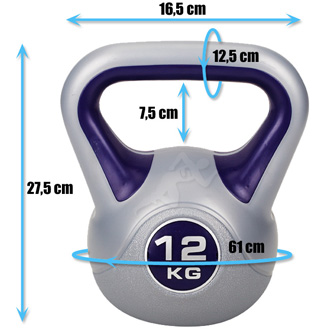 Hantle winylowe do ćwiczeń Kettlebell 12 kg marki Hop Sport - wymiary