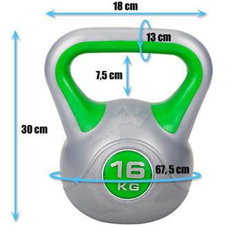 Hantle winylowe do ćwiczeń Kettlebell 16 kg marki Hop Sport - wymiary