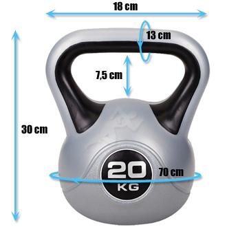Hantle winylowe do ćwiczeń Kettlebell 20 kg marki Hop Sport - wymiary