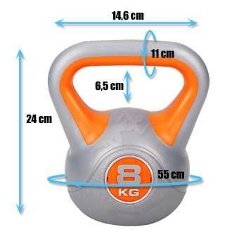 Hantle winylowe do ćwiczeń Kettlebell 8 kg marki Hop Sport - wymiary