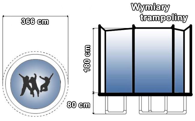 Trampolina z siatką wewnętrzną 12 FT | 366 cm marki Hop Sport - wymiary