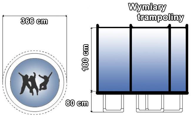 Trampolina z siatką zewnętrzną 12 FT | 366 cm marki Hop Sport - wymiary