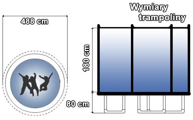 Trampolina z siatką zewnętrzną 16 FT | 488 cm marki Hop Sport - wymiary