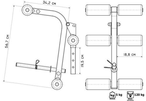 Prasa do ćwiczenia nóg do ławek z serii Semi-Pro MS-A102 Marbo - wymiary