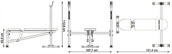 Ławka ze zintegrowanymi stojakami MH-L102 marki Marbo - wymiary