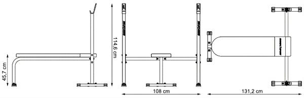 Ławka prosta ze zintegrowanymi stojakami MH-L106 marki Marbo - wymiary