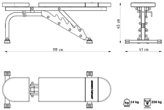 Ławka regulowana dwustronnie MH-L114 marki Marbo - wymiary