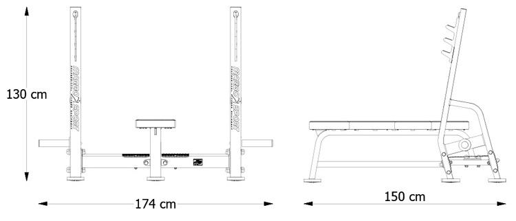 Ławka prosta ze stojakami MP-L204 marki