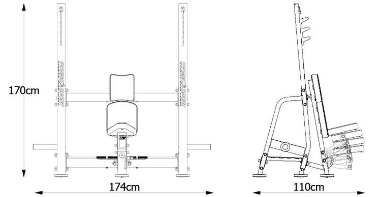 Ławka do wyciskania na barki MP-L209 marki Marbo z serii Professional | sportowybazar.pl