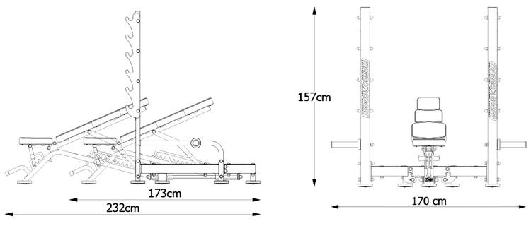 Ławka MP-L213 marki Marbo z serii Professional - wymiary | sportowybazar.pl