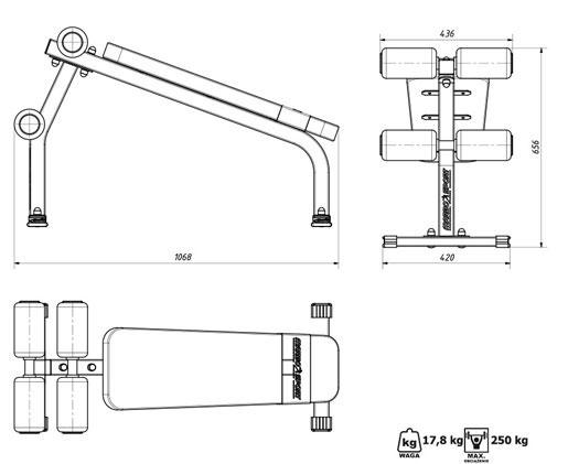 Ławka Marbo MS-L110 - Wymiary