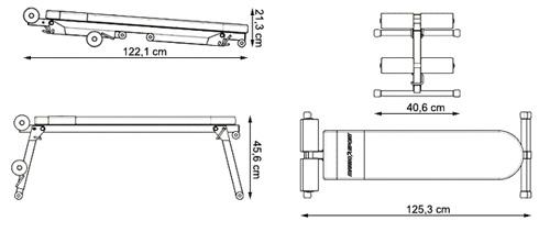 Ławka treningowa prosta/skośna MH-L104 marki Marbo - wymiary