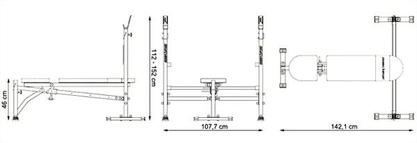 Ławka regulowana ze skosem ujemnym MH-L107 marki Marbo - wymiary