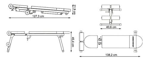 Ławka treningowa prosta/skośna MH-L111 marki Marbo - wymiary