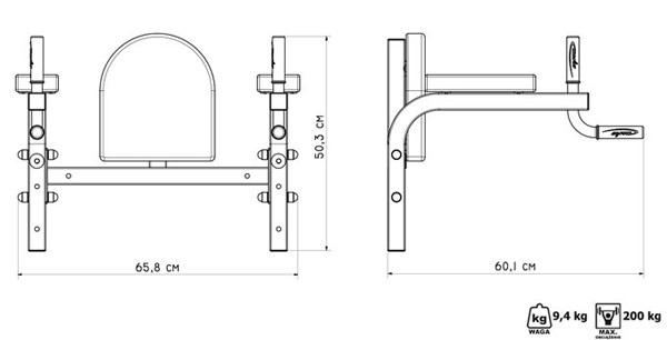 Poręcze montowane do ściany MH-D101 marki Marbo - wymiary