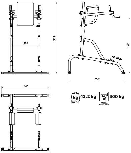 Poręcz stacjonarna MS-U101 marki Marbo - Wymiary