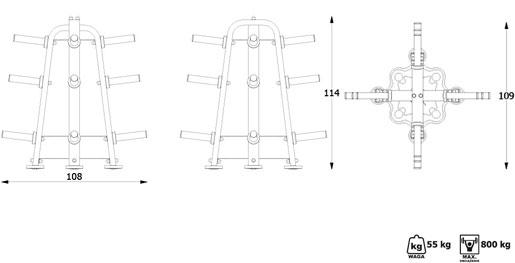 Stojak MP-S204 z wyposażeniem
