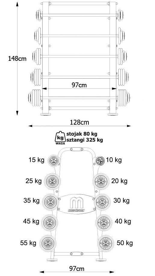 Stojak MP-S210 Wymiary