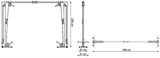 Wyciąg bramowy (brama) MH-W103 marki Marbo - wymiary