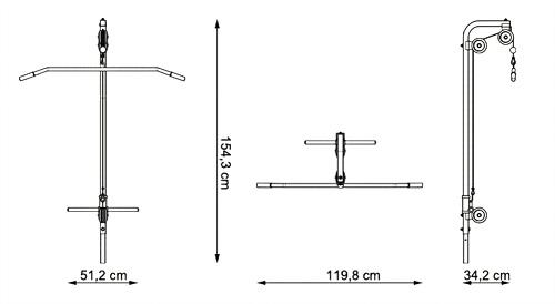 Wyciąg górny i dolny do ławki MH-W104 marki Marbo - wymiary