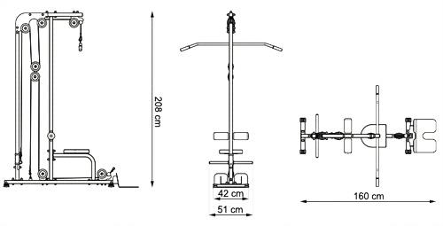 Wyciąg stacjonarny dolny i górny MH-W106 marki Marbo - wymiary
