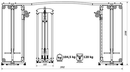 Brama na wolny ciężar MS-W106 Marbo - Wymiary